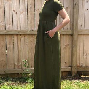 Hunter Green Empire Waist Dress